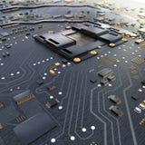 Chip för elektronisk strömkrets på PCbräde vektor illustrationer