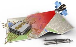 chip för gps 3d stock illustrationer