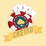chip för kasino 3D med överdängaren som spelar kort Arkivbild