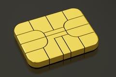 Chip för krediteringsbankrörelsekort eller SIM-kortchip, tolkning 3D Arkivfoton