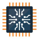 Chip flat icon, circuit board and cpu Stock Photography