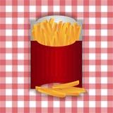 Chip fritti in borsa rossa di carta royalty illustrazione gratis