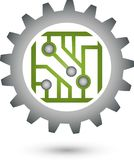 Chip and gear, electronics and IT services logo. Chip and gear, electronics logo, IT services logo, board logo, mechatronics logo, icon, button stock illustration