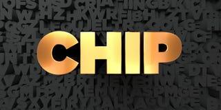 Chip - Goldtext auf schwarzem Hintergrund - 3D übertrug freies Bild der Abgabe auf Lager Stockbilder