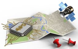 Chip gps-3d lizenzfreie abbildung