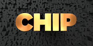 Chip - guld- text på svart bakgrund - 3D framförd fri materielbild för royalty Arkivbilder
