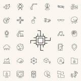 Chip Icon Ikonen-Universalsatz der neuen Technologien für Netz und Mobile lizenzfreie abbildung