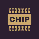 The chip icon. Microchip and microcircuit symbol. Flat. Vector illustration Stock Photo