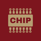The chip icon. Microchip and microcircuit symbol. Flat. Vector illustration Royalty Free Stock Photos