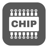 The chip icon. Microchip and microcircuit symbol. Flat. Vector illustration. Button Royalty Free Stock Images