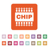 The chip icon. Microchip and microcircuit symbol. Flat. Vector illustration. Button Set Stock Photo