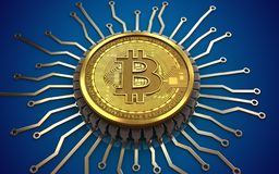 chip integrato bitcoin 3d illustrazione di stock