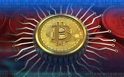 chip integrato bitcoin 3d Fotografie Stock Libere da Diritti