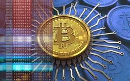 chip integrato bitcoin 3d Fotografie Stock