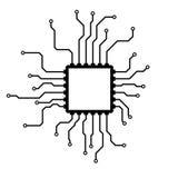 Chip isolerad minsta symbol Processorlinje vektorsymbol för websites och mobil minimalistic plan design stock illustrationer