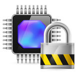 Chip and key. Chip and padlock. Illustration on white background stock illustration