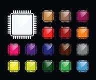 Chip Komputerowy ikona ilustracji