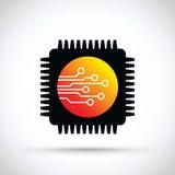 Chip Komputerowy ikona royalty ilustracja