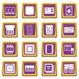 Chip komputerowy ikony ustawiać purpury ilustracja wektor