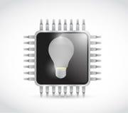 Chip and light bulb illustration design Stock Photos