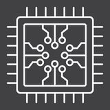 Chip line icon, circuit board and cpu Stock Photos
