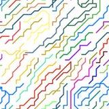 Chip Lines Seamless Pattern micro colorido Vector Foto de archivo