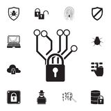 Chip and lock icon. Detailed set of cyber security icons. Premium quality graphic design sign. One of the collection icons for web. Sites, web design, mobile app royalty free illustration