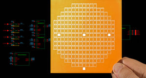 Chip mask and circuit schematic diagram Stock Photos