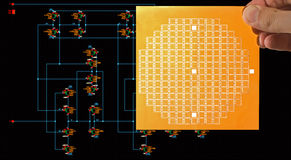 Chip mask and circuit schematic diagram Royalty Free Stock Images