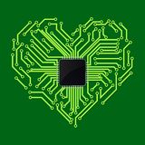 Chip met hartsymbool stock illustratie