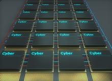 Chip, Mikroelektronik, Cybertechnologie, 3d übertragen Illustration stock abbildung