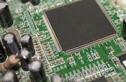 CPU Chip on Motherboard royalty free stock photo