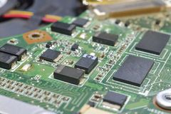 Chip on motherboard Stock Photos