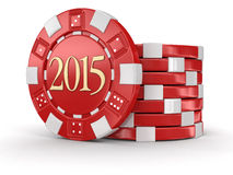 Chip Of Casino 2015 (clipping Path Included) Stock Images