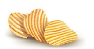Chip ondulati di potatos su fondo bianco Fotografia Stock