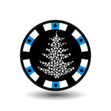 Chip poker casino Christmas new year. Icon  illustration EPS 10 on white easy to separate the background.  use for sites, de Royalty Free Stock Images