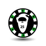 Chip poker casino Christmas new year. Icon  illustration EPS 10 on white easy to separate the background.  use for sites, de Stock Image