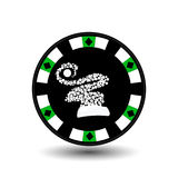 Chip poker casino Christmas new year. Icon  illustration EPS 10 on white easy to separate the background.  use for sites, de Stock Images