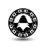 Chip poker casino Christmas new year. Icon  illustration EPS 10 on white easy to separate the background.  use for sites, de Royalty Free Stock Photo
