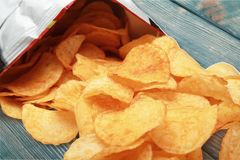 Chip. Prepared potato snack unhealthy eating bag food take out food stock photography
