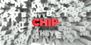 CHIP - Röd text på typografibakgrund - 3D framförde fri materielbild för royalty Royaltyfria Bilder