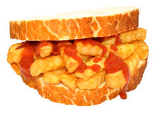 Chip Sandwich With Tomato Sauce Royalty Free Stock Photo