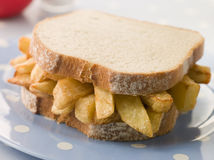 Chip Sandwich on White Bread Royalty Free Stock Image