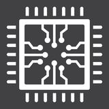 Chip solid icon, circuit board and cpu Royalty Free Stock Photography