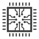 Chip solid icon, circuit board and cpu Stock Image
