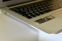 Chip SSD-drive on the keyboard. royalty free stock photography