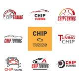 Chip tuning logo. Vector set chip tuning logos vector illustration