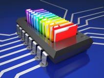 Chip- und Büroordner auf Leiterplatte 3d illustratio Stockbilder
