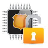 Chip and unlock padlock. Royalty Free Stock Photo