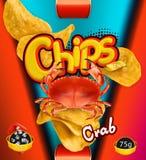 chip ziemniaka odosobnione white Kraba smak Projekt pakuje, wektorowy szablon Royalty Ilustracja
